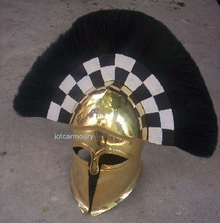 Armor Greek Corinthian Helmet With Black Plume Brass Greek Spartan Armor Helmet photo
