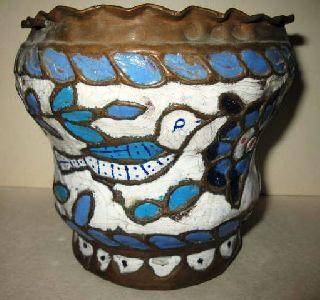 19th Century Persian Copper Vase With Enamel Inlay photo