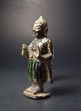 Rare Green Tourmaline Gemstone Standing Buddha,  Stupa Relic photo