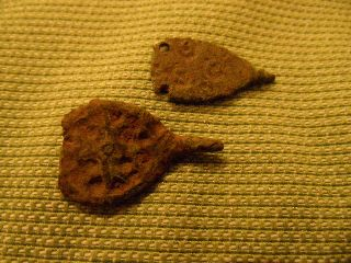 Anglo Saxon Clothes Fastener X 2,  Ring / Dot Design,  Hooks Missing photo