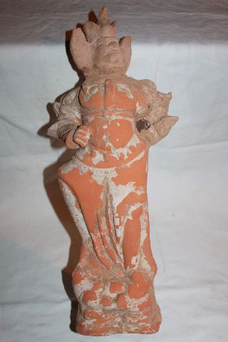 Tang Dynasty Guardian Terracotta Figure Locapala Statue 600 - 900 Ad photo