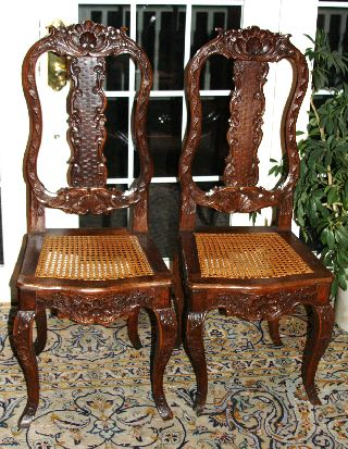 Important Pair 18th C.  Italian Renaissance Tall Back Chairs,  Carved,  Pinned photo