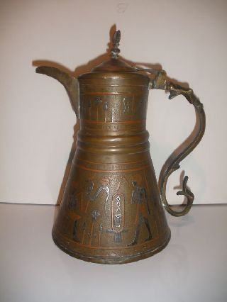 Antique Islamic Arabic Copper Coffee Pot Silver Overlay photo