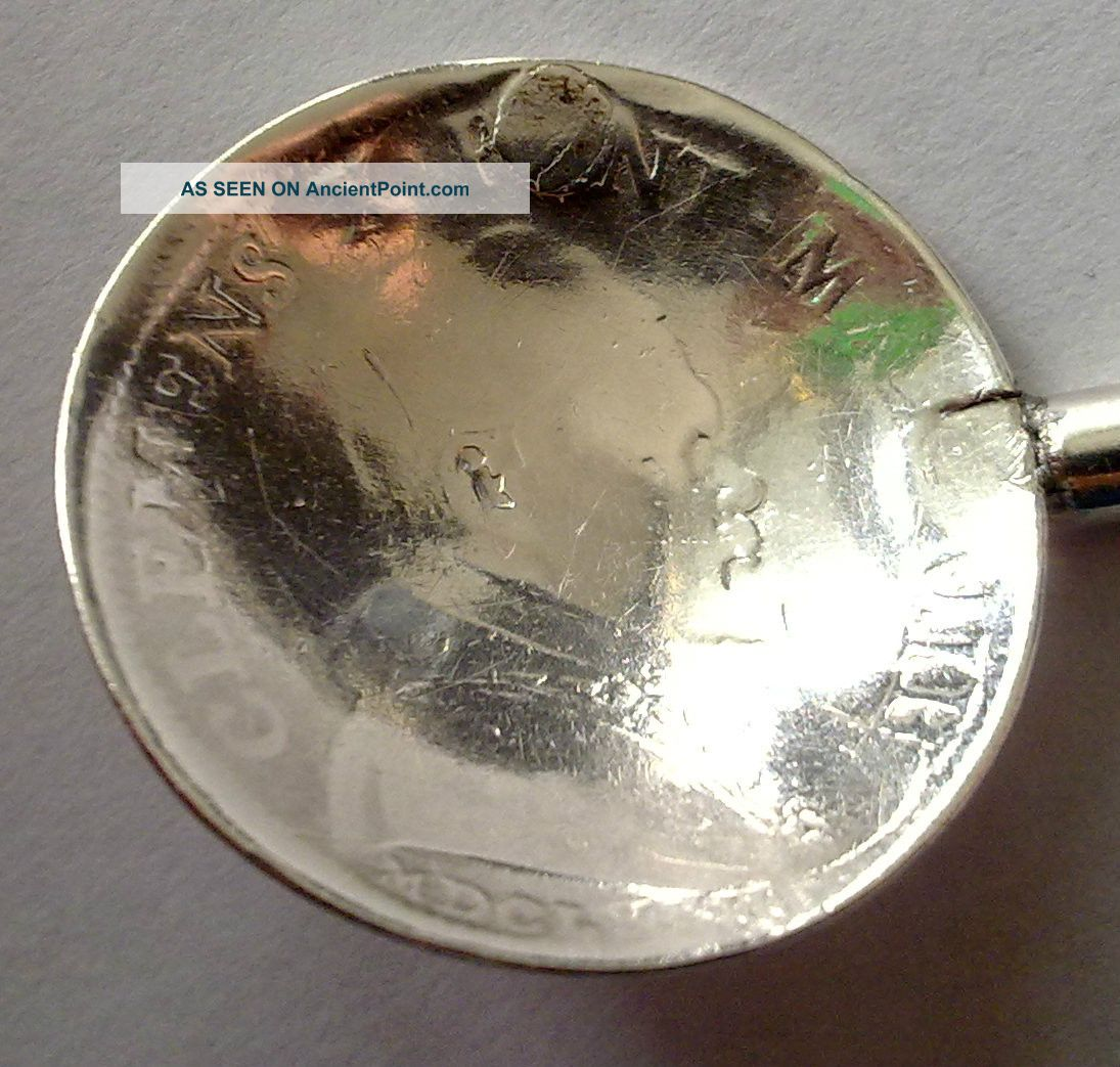 Ancient 1673y.  Solid Silver Coin Spoon Vatican Clemens X Pont Max Mdclxxiii Other photo