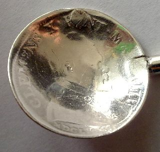 Ancient 1673y.  Solid Silver Coin Spoon Vatican Clemens X Pont Max Mdclxxiii photo