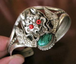 Antique Tibetan Silver Dragon Bangle Xmas Birthday Gift photo
