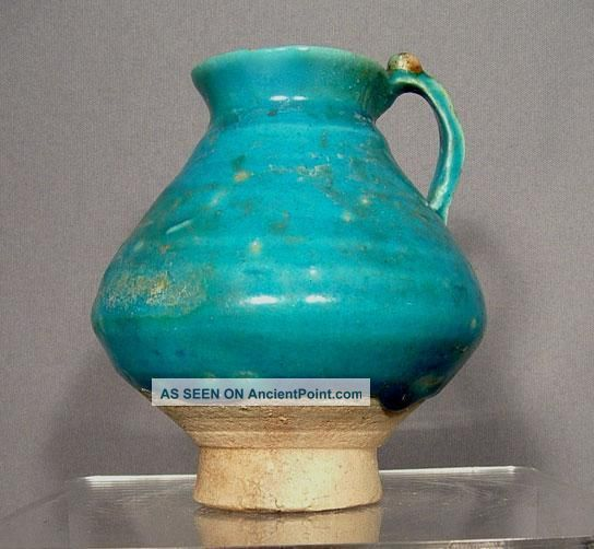 Antique Medieval Kashan Turquoise Glaze Ceramic Jug Islamic photo