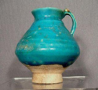 Antique Medieval Kashan Turquoise Glaze Ceramic Jug photo