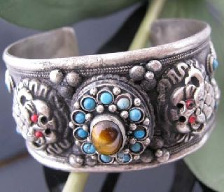 Antique Tibetan Silver Dragons Bangle Christmas Gift photo