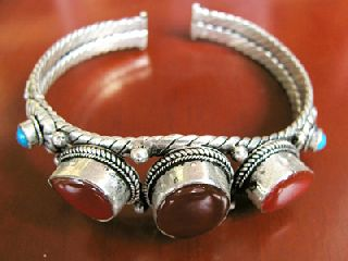 Antique Tibetan Silver Bangle Christmas Birthday Gift photo