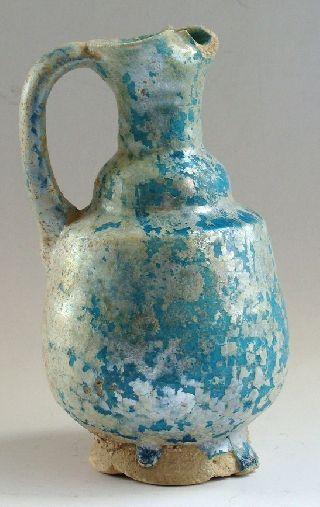 Antique Turquoise Glaze Ceramic Jug photo