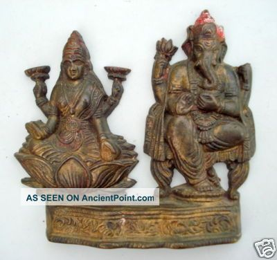 Antique Brass Statue Hindu God Laxmi Ganesh India Other photo
