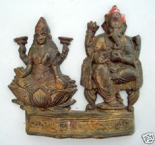Antique Brass Statue Hindu God Laxmi Ganesh India photo