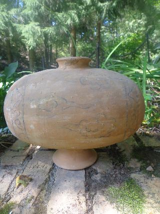Antique Chinese Han Dynasty Cocoon Terracotta Jar Circa 206 Bc - 220ad photo