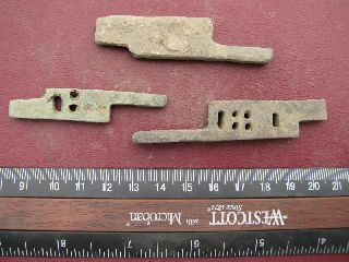 3 Ancient Medieval To Roman Bronze Lock Bolts 6318 photo