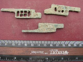 3 Ancient Medieval To Roman Bronze Lock Bolts 6316 photo