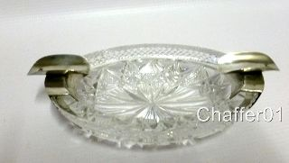 Antique Latvian Silver & Cut Glass Ash Tray C1920s photo