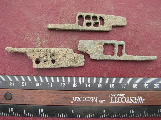 3 Ancient Medieval To Roman Bronze Lock Bolts 6333 photo