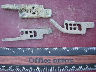 3 Ancient Medieval To Roman Bronze Lock Bolts 5109 photo