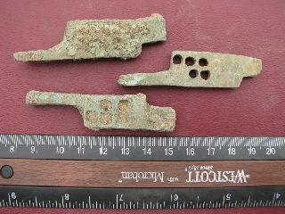 3 Ancient Medieval To Roman Bronze Lock Bolts 6330 photo