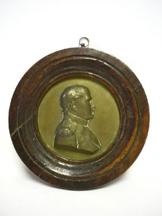 Georgian Period Bronze Medallion Of Napoleon In Mahogany Frame C1820 photo