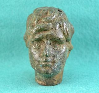 Roman Bronze Head Of God Thanatos (mors) photo