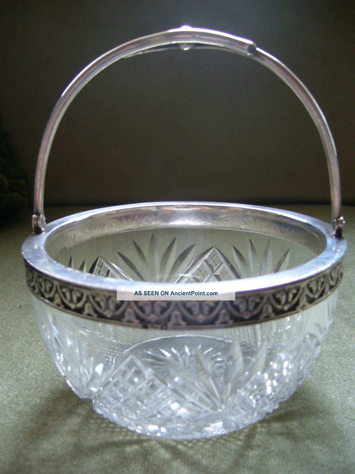 Old Russian Silver Mounted Cut Glass Round Bowl With Swing Handle Other photo