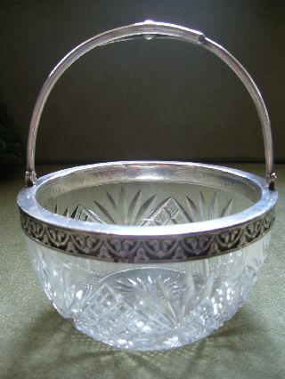 Old Russian Silver Mounted Cut Glass Round Bowl With Swing Handle photo