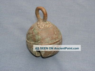 Large Ancient Bell With Ornate Design To Top And Centre Chinese photo