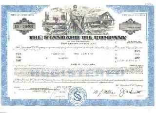 Old Standard Oil Company Of Ohio Stock Bond Certificate Blue Rockefeller photo