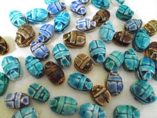 Egyptian Faience Scarab Hieroglyph Beads 9 Xxs Lux Bead photo
