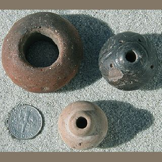 3 Pre - Columbian Large Clay Beads Mexico photo