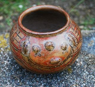 Ancient Pre - Columbian Polychrome Nicoya Jicote Bowl,  Costa Rica photo