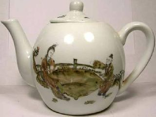 Antique Hand Painted 19th Century China Porcelain Teapot Flirting In The Park photo