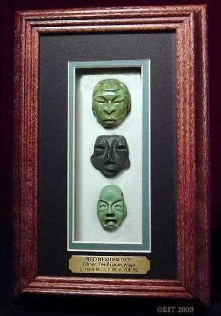 Museum Cast Of 3 Precolumbian Carved Amulet Faces - From Olmec,  Maya,  Teotihuacan photo