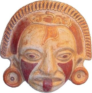 Real Mayan Ceremonial Mask.  Best Home Wall Decor.  Wall Hanging.  Fired Clay photo