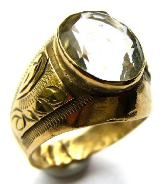Medieval English Gold Gilt Ring Citrine Quartz Circa: 16th Century photo