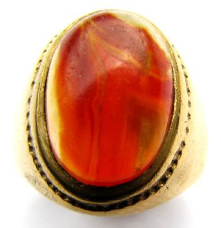 Fine Gold Gilt Georgian Signet Ring With Orange Chalcedony Cabochon 18th Century photo