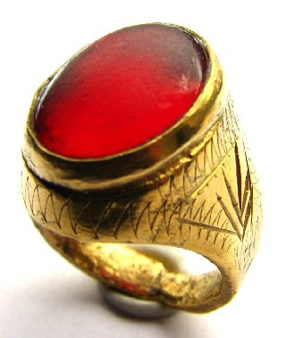 Medieval Gold Gilt Ring With Stunning Red Jasper Gem 17th Century photo