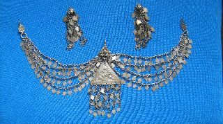 Antique Ottoman Empire Chest Ornament And Hairpins / Silver Alloy / 19th Century photo