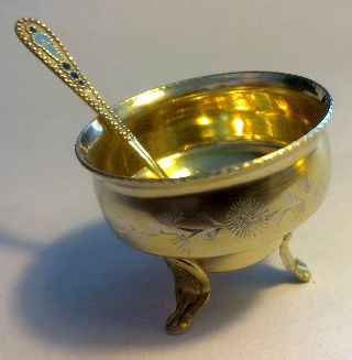Russian Solid Silver Gold Gilt Bowl And Spoon/spoon Is Enamel,  Spice Mustard Salt photo