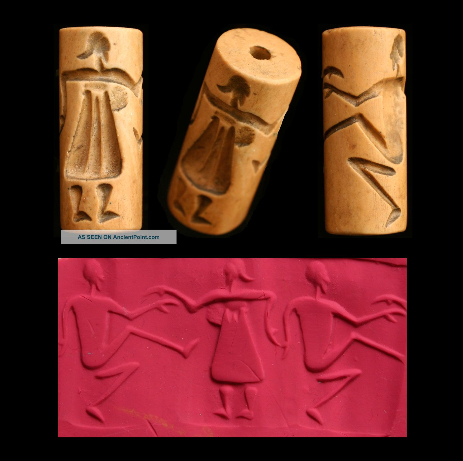 Cylinder Seal Of Dancers Bead Amulet Middle Eastern Near Eastern photo