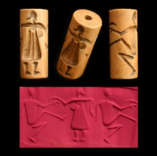Cylinder Seal Of Dancers Bead Amulet Middle Eastern photo