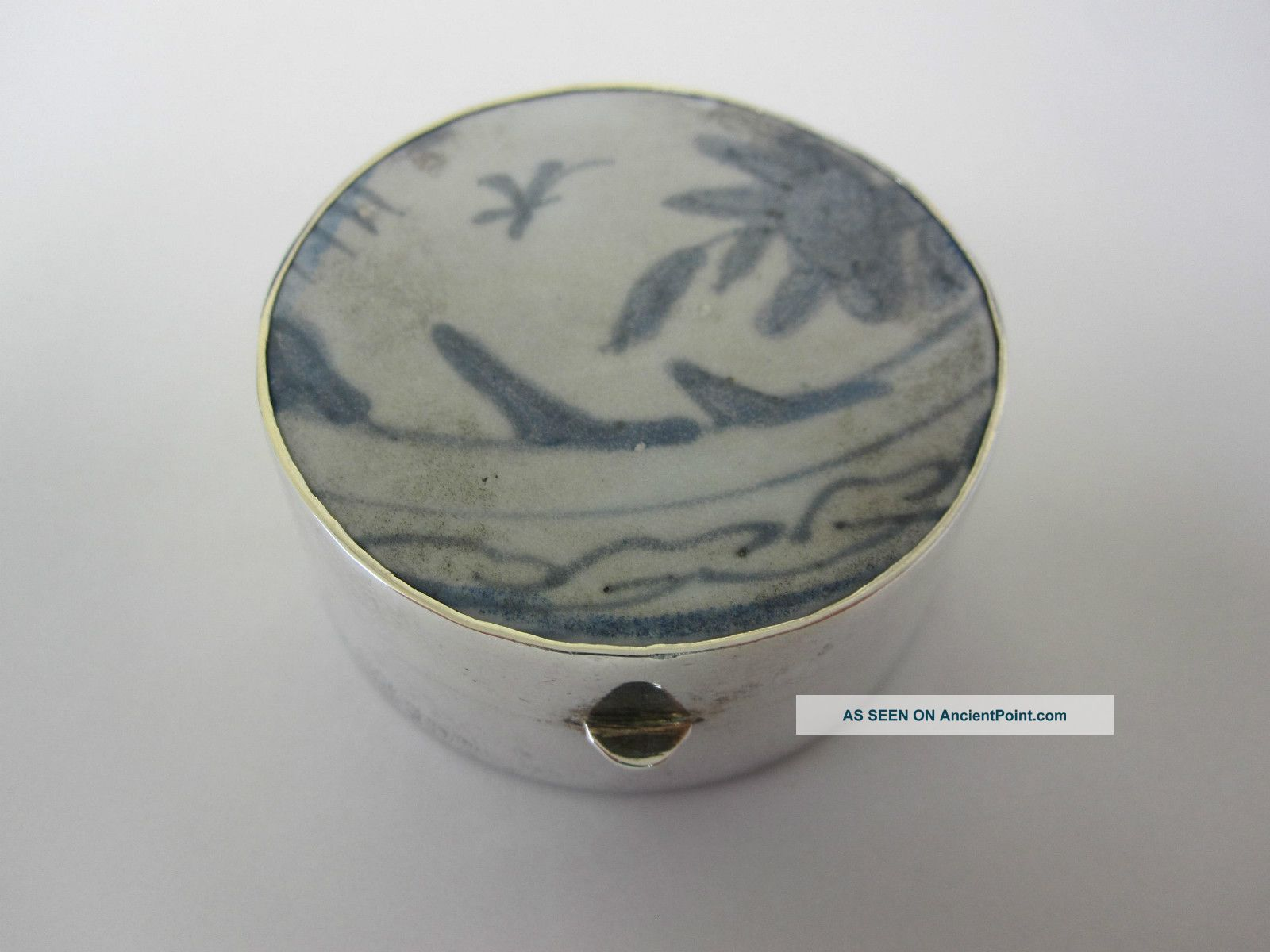 Ming Dynasty Porcelain Box Mounted With Sterling Silver Asia photo