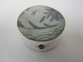 Ming Dynasty Porcelain Box Mounted With Sterling Silver photo