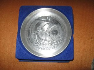 Vintage Unused In Box Haugrud Norway Pewter Viking Boat Ship Coin Dish New photo
