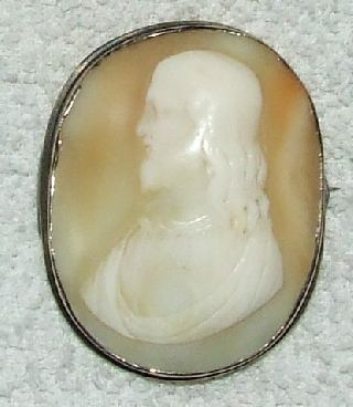 Antique 19th C.  Victorian Hand Carved Jesus Shell Cameo photo