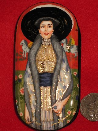 Russian Small Trinket Repro Lacquer Box Klimt Hand Painted Adele Bloch - Bauer Ii photo