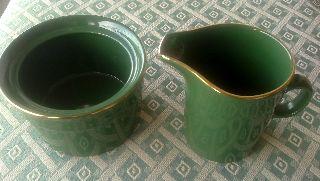 Rare 24ct Gold Plate Pottery Cromwell & Morgan Milk Jug And Sugar Bowl photo
