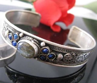 Antique Tibetan Silver Gemstones Bangle Christmas Gift photo